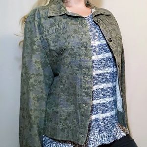 JONES WEAR Sport green floral denim jean jacket